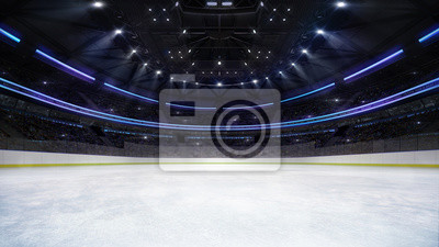 empty ice rink arena inside view illuminated by spotlights, hockey and skating stadium indoor 3D render illustration background, my own design