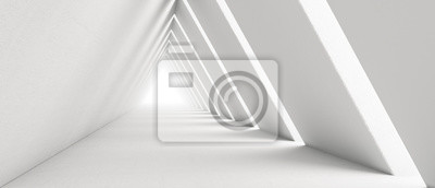 Naklejka Empty Long Light Corridor. Modern white background. Futuristic Sci-Fi Triangle Tunnel. 3D Rendering