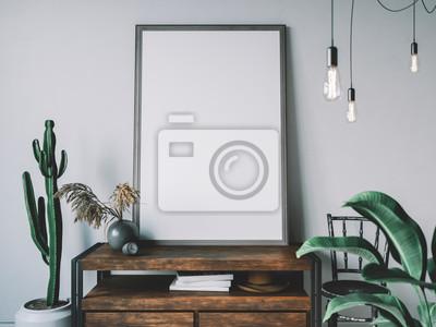 Naklejka Empty poster frame in cozy interior. Frame mockup.