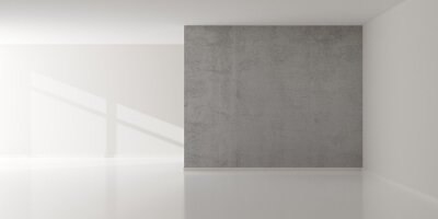 Empty white room with blank walls, center grunge concrete wall element and window sunlight shadow - presentation or gallery architecture background element