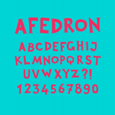English alphabet. Vector. Set of latin letters on a turquoise background. Fun, informal font. All symbols are isolated separately. Cartoon hipster style.