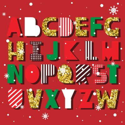 English alphabet vector, typography design. Background with set of decorative latin letters. Poster with colorful latin abc. Festive font, flat line style. Trendy capital letters