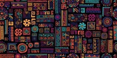 Naklejka Ethnic handmade ornament, seamless pattern