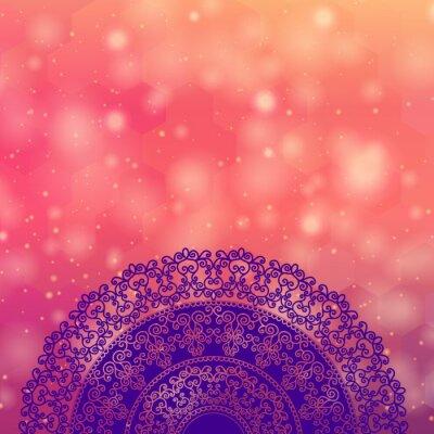 Naklejka Etniczne i kolorowe Henna Mandala, bardzo skomplikowane i łatwo edytowalne