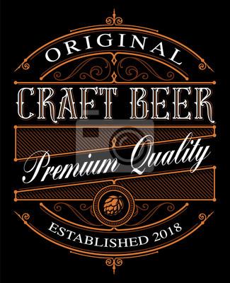 Naklejka Etykieta piwa Vintage Craft na ciemnym tle.