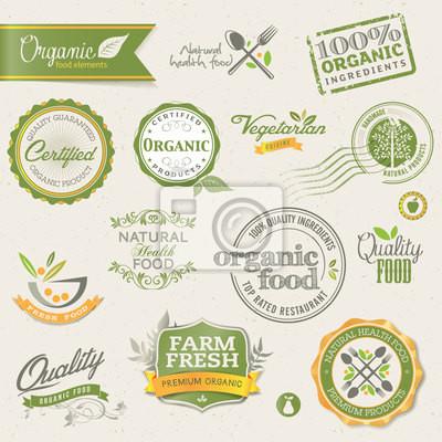Etykiety ekologiczne jedzenie i elementy