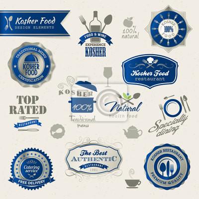 Etykiety i elementy koszerne jedzenie