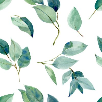 Naklejka eucalyptus leaves, seamless pattern, watercolor tropical leaves on isolated white background, digital paper