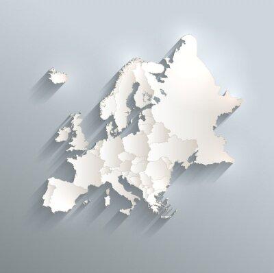 Naklejka Europa polityczna mapa flaga 3d wektor oddzielić poszczególne państwa