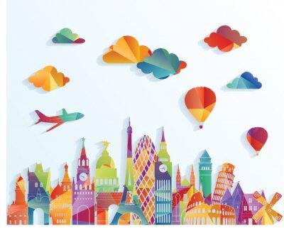 Naklejka Europa skyline. ilustracji wektorowych