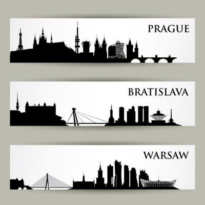 Naklejka Europa Środkowa Kontury miast