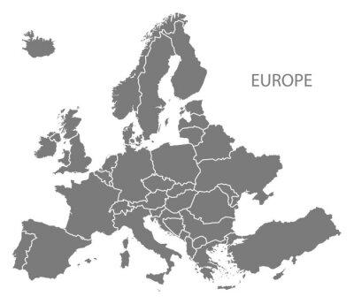 Naklejka Europa z krajami mapie szare