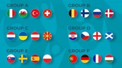 Naklejka European football tournament group stge  2020. Set of national flags of football teams Euro 2020 on funny backround.