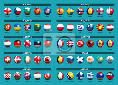 Naklejka European soccer tournament qualifying draw 2020 . Group of international teams . 3D Football with country flag pattern . Blue theme background . Vector .