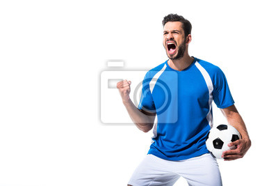 Naklejka excited soccer player with ball and clenched hand Isolated On White