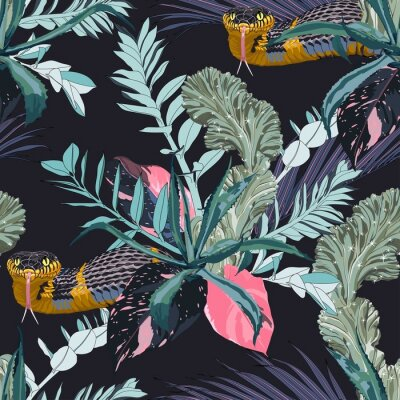 Naklejka Exotic leaves and branches, many kinds of plants and yellow snake seamless pattern. Tropical night. White background.