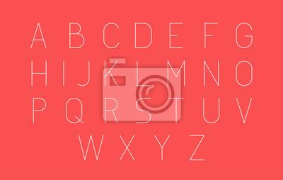 Extra Thin Futuristic Line Stroke Font. Szczupła Łacińska Angielska abecadło Wektorowa typografia na Czerwonym tle.