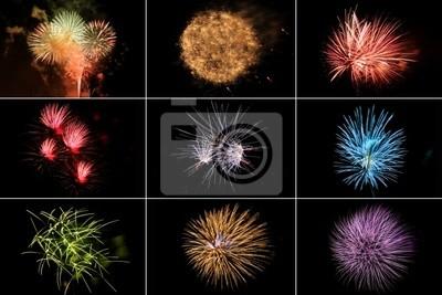 Fajerwerki w razie różnych kolorów i kształtów