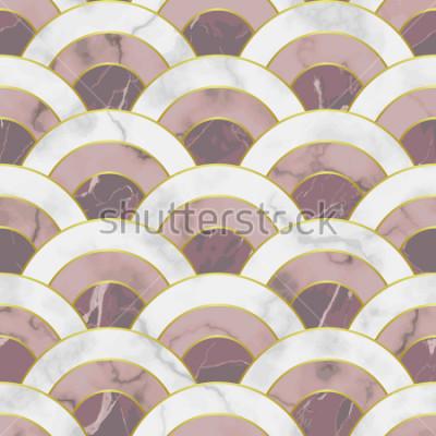 Naklejka Fala marmurowy wzór. Streszczenie tło geometryczne powtórzyć. Azjatyckie tradycyjne tło, luksusowe tapety ze złotymi liniami, różowy i biały tekstylny druk, wnętrze płytki.