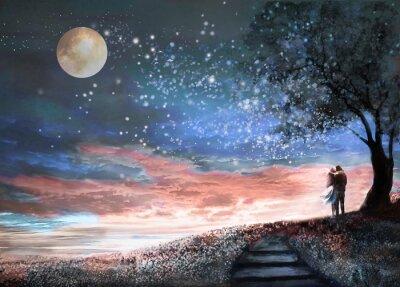 Naklejka Fantasy ilustracji z nieba i MilkyWay, księżyc gwiazd. Kobieta i mężczyzna pod drzewem patrząc na krajobraz przestrzeni. Kwiatów łąki i schodów. Obraz.