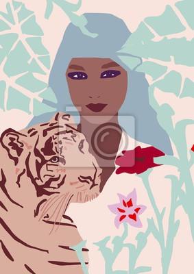 Naklejka fashion girl with tiger illustration African American