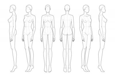 Naklejka Fashion template 9 head for technical drawing with main lines.