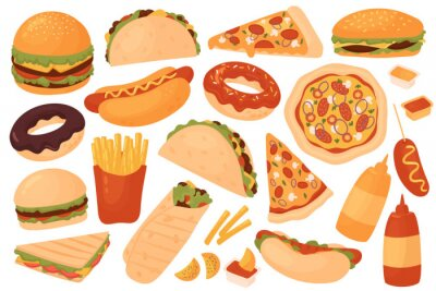 Naklejka Fast food restaurant menu set vector illustration. Cartoon yummy fastfood meal sticker collection with delicious hot dog sandwich hamburger taco pizza donut french fries cheeseburger isolated on white