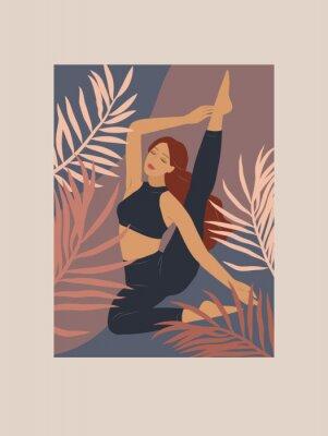 Naklejka Feminine concept. Cute girl doing yoga poses. Lifestyle by young woman. Fashion illustration by femininity, beauty and mental health. Vector cartoon