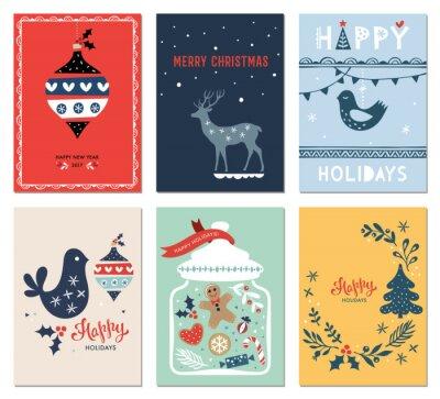 Ferie zimowe karty z drzewa nowego roku, gołąb, słój, pierniki mężczyzn, ozdoby i jelenie. ilustracji wektorowych.