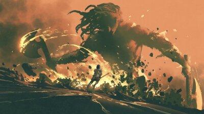 Naklejka Fight with the giants of the dark world