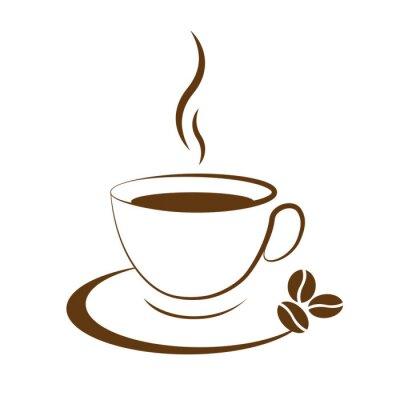 Naklejka Filiżanka gorącej kawy ikona