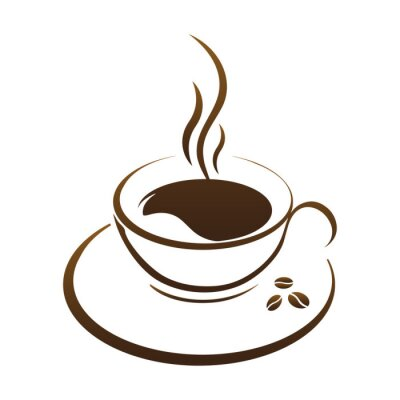 Naklejka Filiżanka gorącej kawy wektor