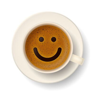 Naklejka Filiżanka kawy na dobry humor