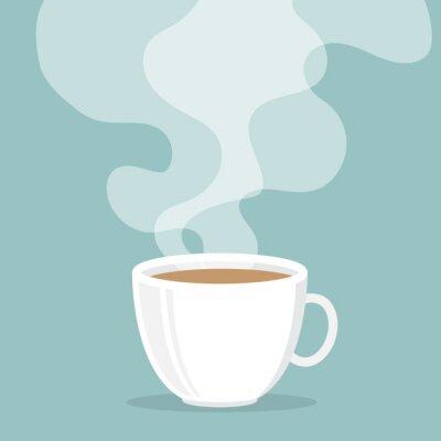 Naklejka Filiżanka kawy z dymu unoszą się