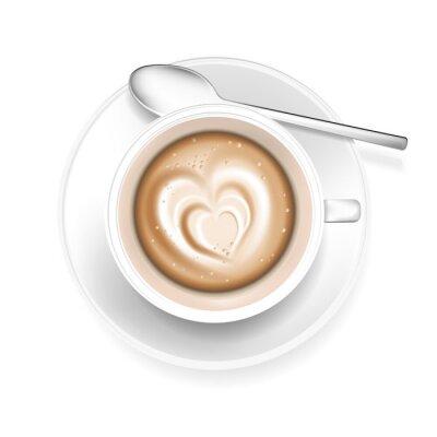 Naklejka Filiżanka kawy z pianki w kształcie serca