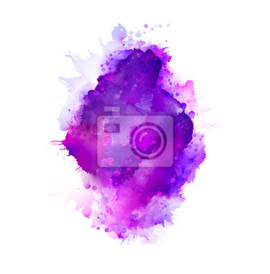 Fioletowe, fioletowe, liliowe i niebieskie plamy z akwareli. Jasny element abstrakcyjne tło artystyczne.