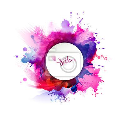 Fioletowe, niebieskie, liliowe, czerwone, magenta i różowe plamy akwareli. Jasny kolor elementu dla abstrakcyjnych artystycznych tła.