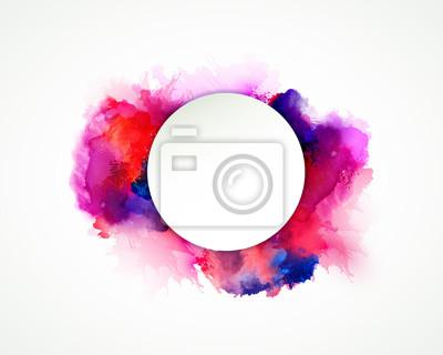 Fioletowe, niebieskie, liliowe, pomarańczowe, magenta i różowe plamy akwareli. Jasny kolor elementu dla abstrakcyjnych artystycznych tła.