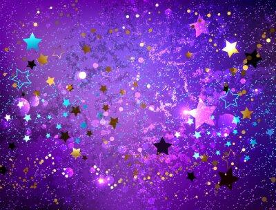 Naklejka Fioletowe tło z gwiazdami