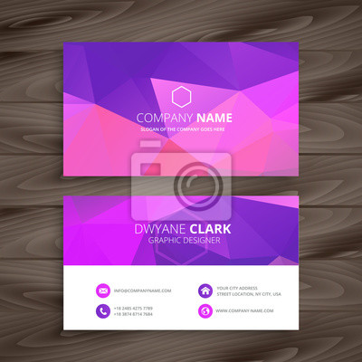 fioletowy wizytówki z abstrakcyjny kształt