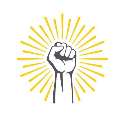 Naklejka Fist male hand, proletarian protest symbol. Power sign.