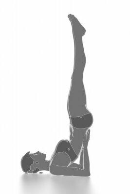 Naklejka Fitness i rozciąganie na białym pojedyncze - rozgrzania koncepcji
