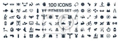 Naklejka fitness i sport 100 izolowanych ikon ustawionych na białym tle
