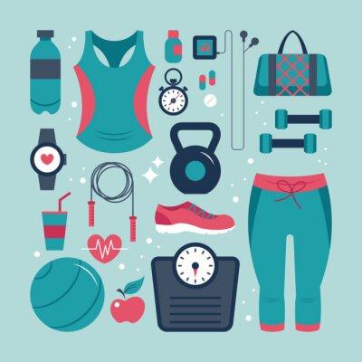 Naklejka Fitness i zdrowie zestaw ikon płaskie