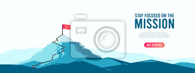 Naklejka Flag on the mountain peak. Business concept of goal achievement or success. Flat style vector illustration