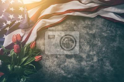 Naklejka Flaga amerykańska na Dzień Pamięci, 4 lipca, Święto Pracy
