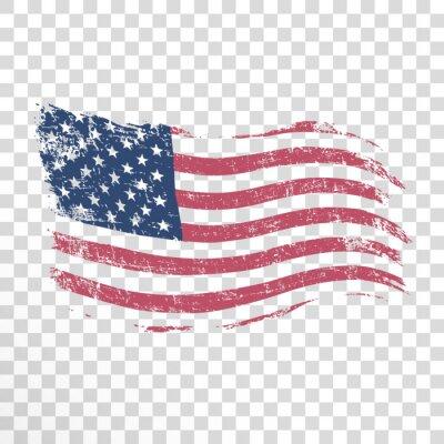 Naklejka Flaga amerykańska w stylu grunge na przezroczystym tle.