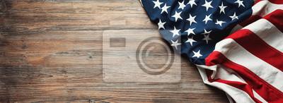 Naklejka Flaga Stanów Zjednoczonych na drewniane tła
