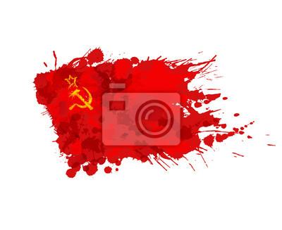 Flaga ZSRR lub ZSRR z kolorowymi plamami