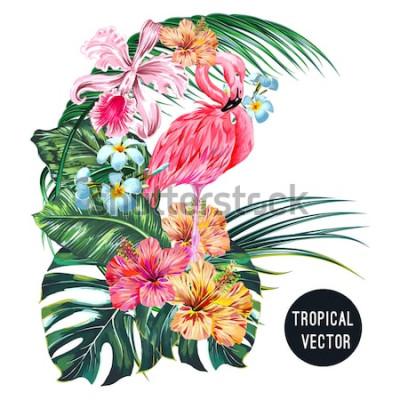 Naklejka Flaming różowy ptak, tropikalne kwiaty, liście palmowe, monstera, plumeria, hibiskus, kwiat orchidei, kompozycja liści dżungli. Wektor egzotyczne rośliny botaniczne ilustracja na białym tle